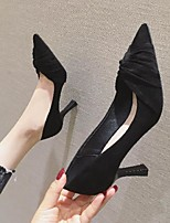 cheap -Women's Sandals Pumps Pointed Toe Casual Daily Walking Shoes Suede Solid Colored Almond Black Green