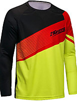 cheap -21Grams Men's Long Sleeve Downhill Jersey Spandex Yellow Bike Jersey Mountain Bike MTB Road Bike Cycling UV Resistant Quick Dry Sports Clothing Apparel / Athletic