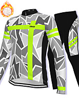 cheap -21Grams Men's Long Sleeve Cycling Jacket with Pants Winter Fleece Spandex Grey Bike Fleece Lining Warm Sports Graphic Mountain Bike MTB Road Bike Cycling Clothing Apparel / Stretchy / Athleisure