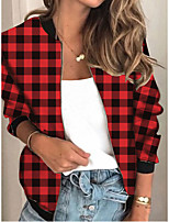 cheap -Women's Plaid Patchwork Streetwear Spring &  Fall Jacket Regular Sports Long Sleeve Rayon Coat Tops Red