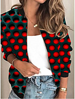 cheap -Women's Polka Dot Patchwork Streetwear Spring &  Fall Jacket Regular Sports Long Sleeve Rayon Coat Tops Red