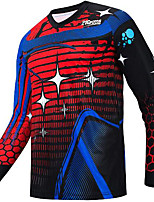 cheap -21Grams Men's Long Sleeve Downhill Jersey Spandex Red Bike Jersey Top Mountain Bike MTB Road Bike Cycling UV Resistant Quick Dry Sports Clothing Apparel / Athletic