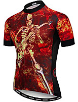 cheap -21Grams Men's Short Sleeve Cycling Jersey Red Skull Bike Jersey Mountain Bike MTB Road Bike Cycling Breathable Quick Dry Sports Clothing Apparel / Athletic
