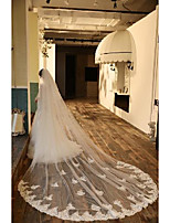 cheap -One-tier Cute Wedding Veil Cathedral Veils with Embroidery 104.33 in (265cm) Tulle