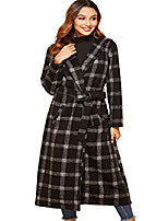cheap -women's classic hooded checker long sleeve belted midi long trench coat outwear (small, black)