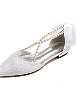 cheap -Women's Wedding Shoes Flat Heel Pointed Toe Classic Sweet Wedding Party & Evening Lace Pearl Satin Flower Solid Colored White Ivory