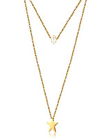 cheap -ad jewelry dainty layered choker necklace with synthetic pearls, bar, hammered disc star heart stainless steel 18k gold plated multilayer necklaces for women (star gold)