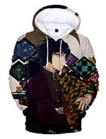 cheap -Inspired by Demon Slayer Tomioka Giyuu Cosplay Costume Hoodie Polyester / Cotton Blend 3D Printing Hoodie For Men's / Women's