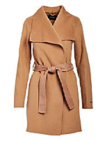 cheap -women's camel double face wool belted wrap coat (s)