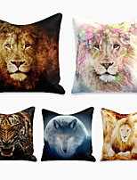 cheap -cushion cover 5pc linen soft decorative square throw pillow cover cushion case pillowcase for sofa bedroom 45 x 45 cm (18 x 18 inch) superior quality machine washable wild animal