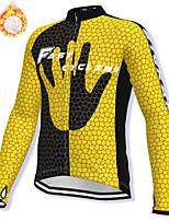 cheap -21Grams Men's Long Sleeve Cycling Jacket Winter Fleece Spandex Yellow Bike Jacket Mountain Bike MTB Road Bike Cycling Fleece Lining Warm Sports Clothing Apparel / Stretchy / Athleisure
