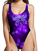 cheap -Women's New Sexy Monokini Swimsuit 3D Animal Print Bodysuit Normal Strap Swimwear Bathing Suits Purple / One Piece