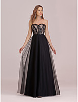 cheap -A-Line Empire Vintage Party Wear Formal Evening Dress Sweetheart Neckline Sleeveless Floor Length Tulle with Lace Insert Appliques 2020