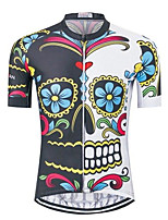 cheap -21Grams Men's Short Sleeve Cycling Jersey White Skull Bike Jersey Mountain Bike MTB Road Bike Cycling Breathable Sports Clothing Apparel / Athletic
