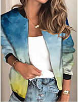 cheap -Women's Tie Dye Patchwork Streetwear Spring &  Fall Jacket Regular Sports Long Sleeve Rayon Coat Tops Blue