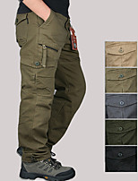 cheap -Men's Hiking Cargo Pants Solid Color Summer Outdoor Comfortable Anti-tear Multi-Pocket Cotton Bottoms Green / Yellow Black Army Green Grey Khaki Hunting Fishing Climbing M L XL XXL XXXL