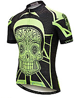 cheap -21Grams Men's Short Sleeve Cycling Jersey Black / Green Skull Bike Jersey Mountain Bike MTB Road Bike Cycling Breathable Quick Dry Sports Clothing Apparel / Athletic