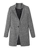 cheap -women slim winter warm wool lapel long houndstooth coat trench parka jacket overcoat outwear (l, black)