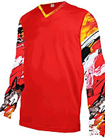 cheap -21Grams Men's Long Sleeve Downhill Jersey Red Bike Jersey Top Mountain Bike MTB Road Bike Cycling UV Resistant Quick Dry Sports Clothing Apparel / Athletic