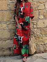cheap -Women's Shift Dress Maxi long Dress Yellow Green Red 3/4 Length Sleeve Color Block Print Fall Summer V Neck Casual 2021 S M L XL XXL 3XL