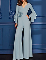 cheap -Jumpsuits Minimalist Elegant Engagement Formal Evening Dress V Neck Long Sleeve Floor Length Chiffon with Ruffles 2020