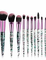 cheap -10pcs fashion bling diamond travel cosmetic makeup brushes set for face eye lip (green)