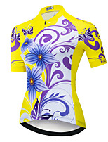 cheap -21Grams Women's Short Sleeve Cycling Jersey Yellow Floral Botanical Bike Jersey Mountain Bike MTB Road Bike Cycling Breathable Sports Clothing Apparel / Athletic