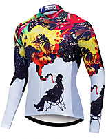cheap -21Grams Men's Long Sleeve Cycling Jersey White Bike Jersey Mountain Bike MTB Road Bike Cycling Breathable Sports Clothing Apparel / Athletic