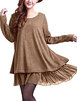 cheap -women's sweater, long-sleeved, plus size, casual, loose sweater, knitted sweater, tunic, tops - beige - 42