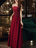 cheap -A-Line Elegant Floral Engagement Formal Evening Dress Spaghetti Strap Sleeveless Floor Length Satin with Pleats Beading Appliques 2020