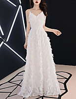 cheap -A-Line Empire Elegant Wedding Guest Formal Evening Dress V Neck Sleeveless Floor Length Jersey with Feather 2020