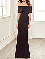 cheap -Sheath / Column Minimalist Elegant Engagement Formal Evening Dress Off Shoulder Short Sleeve Floor Length Stretch Fabric with Sleek 2020