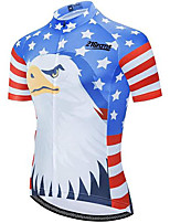 cheap -21Grams Men's Short Sleeve Cycling Jersey Blue National Flag Bike Jersey Top Mountain Bike MTB Road Bike Cycling UV Resistant Quick Dry Sports Clothing Apparel / Athletic