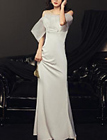cheap -Sheath / Column Empire Minimalist Holiday Formal Evening Dress Illusion Neck Short Sleeve Floor Length Spandex with Sleek 2020
