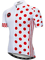 cheap -21Grams Men's Short Sleeve Cycling Jersey White Dot Bike Jersey Mountain Bike MTB Road Bike Cycling Breathable Quick Dry Sports Clothing Apparel / Athletic