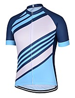 cheap -21Grams Men's Short Sleeve Cycling Jersey Blue Stripes Bike Jersey Mountain Bike MTB Road Bike Cycling Breathable Sports Clothing Apparel / Athletic