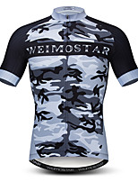 cheap -21Grams Men's Short Sleeve Cycling Jersey Black Camo / Camouflage Bike Jersey Mountain Bike MTB Road Bike Cycling Breathable Sports Clothing Apparel / Athletic