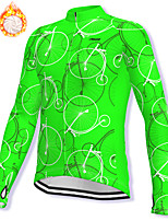 cheap -21Grams Men's Long Sleeve Cycling Jacket Winter Fleece Spandex Green Bike Jacket Mountain Bike MTB Road Bike Cycling Fleece Lining Warm Sports Clothing Apparel / Stretchy / Athleisure