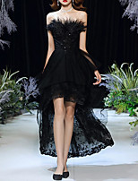 cheap -A-Line Little Black Dress Elegant Party Wear Cocktail Party Dress Strapless Sleeveless Asymmetrical Lace Tulle with Pleats Tassel 2020