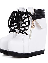 cheap -Women's Boots Wedge Heel Round Toe Classic Daily PU Solid Colored White Black