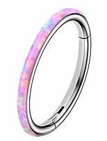 cheap -opal cartilage earrings hoop 8mm inner diameter earrings rainbow pink opal 316l stainless steel helix daith earrings hoop nose rings lip piercing jewelry