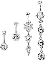 cheap -4 pcs dangle belly button rings navel for women curved barbell piercing 14g cz piercing set