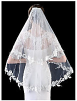 cheap -Two-tier Elegant & Luxurious / Love Wedding Veil Shoulder Veils with Embroidery / Appliques / Solid POLY