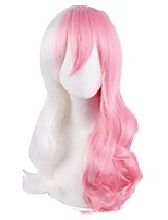 cheap -Cosplay Wig Monome Dangan Ronpa Curly With Bangs Wig Long Pink Synthetic Hair 28 inch Women's Anime Cosplay Exquisite Pink
