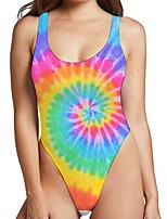 cheap -Women's New Sexy Monokini Swimsuit Tie Dye 3D Print Bodysuit Normal Strap Swimwear Bathing Suits Rainbow / One Piece