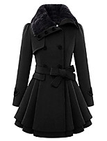 cheap -Women's Pattern Others Casual Fall & Winter Coat Long Casual / Daily Polyester Coat Tops Camel