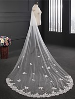 cheap -Two-tier Elegant & Luxurious Wedding Veil Cathedral Veils with Flower Comb Tulle