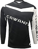 cheap -21Grams Men's Long Sleeve Downhill Jersey Spandex Black / White Bike Jersey Top Mountain Bike MTB Road Bike Cycling UV Resistant Quick Dry Sports Clothing Apparel / Athletic