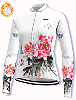cheap -21Grams Women's Long Sleeve Cycling Jacket Winter Fleece Spandex White Floral Botanical Bike Jacket Mountain Bike MTB Road Bike Cycling Fleece Lining Warm Sports Clothing Apparel / Stretchy