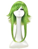 cheap -18inch cosplay wig green heat resistant synthetic hair medium length straight costume wigs free shipping